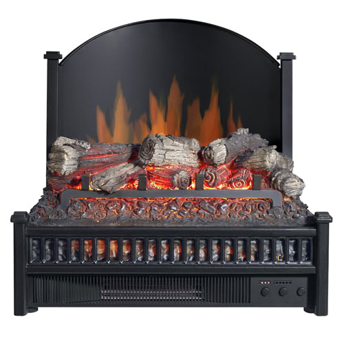 Pleasant Hearth Black Electric Fireplace Logs Heater with LED Glowing Ember Bed and Cast Iron Fireback