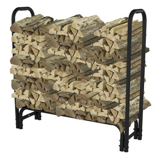 Pleasant Hearth Black Powder Coat Outdoor Steel Log Rack 4 Feet Long With 1