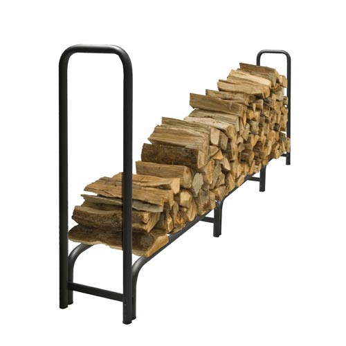 Pleasant Hearth Black Outdoor Steel Log Rack with Weather-Resistant Half Cover, 12-Feet Long with 3/4-Cord of Wood Storage