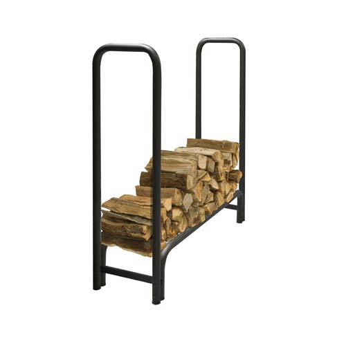 Pleasant Hearth Black Outdoor Steel Log Rack with Weather-Resistant Half Cover, 4-Feet Long with 1/4-Cord of Wood Storage