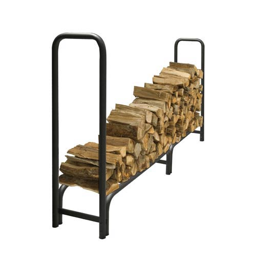 Pleasant Hearth Black Outdoor Steel Log Rack with Weather-Resistant Cover, 8-Feet Long with 1/2-Cord of Wood Storage Capacity