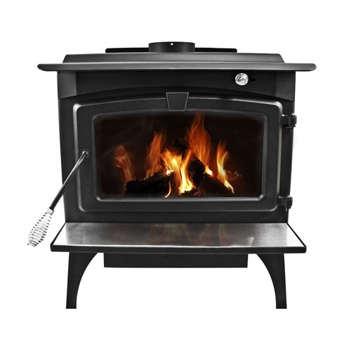 Pleasant Hearth Black Finish with Chrome Accents Medium 65,000-BTU Wood Burning Stove with Blower and Ceramic Glass Window,