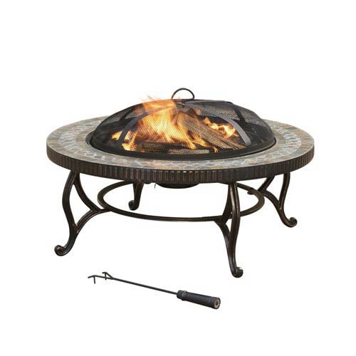 Pleasant Hearth Bronze Elizabeth 34-Inch Outdoor Natural Slate Circular Fire Pit with Table Lid and Cooking Grate