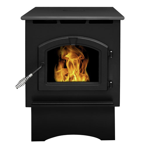 Pleasant Hearth Black Finish with Chrome Accents Medium 35,000-BTU Pellet Burning Stove with LED Comfort Control System,