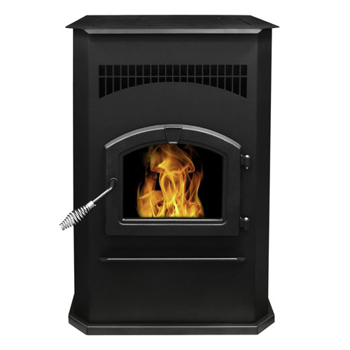 Pleasant Hearth Black Finish with Chrome Accents Cabinet 50,000-BTU Pellet Burning Stove with LED Comfort Control System,