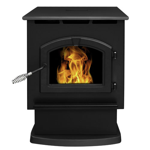 Pleasant Hearth Black Finish with Chrome Accents Large 50,000-BTU Pellet Burning Stove with LED Comfort Control System,