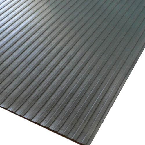 Black Wide Rib Corrugated 4 Ft x 15 Ft Rubber Floor Mat