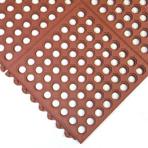 Dura-Chef Interlock Red 3 Ft. x 3 Ft. Kitchen Comfort Mats, Set of Two