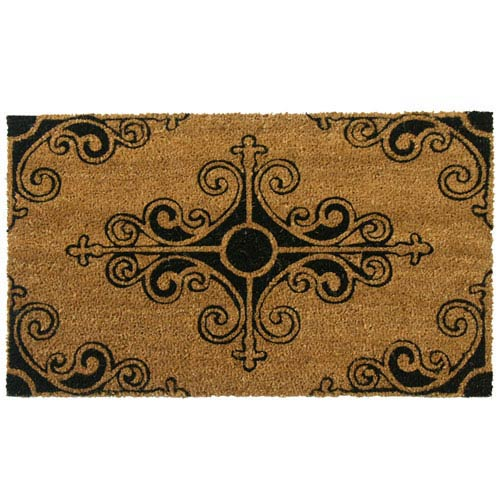 Rubber Cal Tan Traditional Fleur De Lis French Door Mat