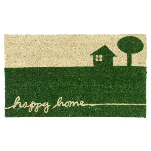 Tan and Green Happy Home Country Door Mat