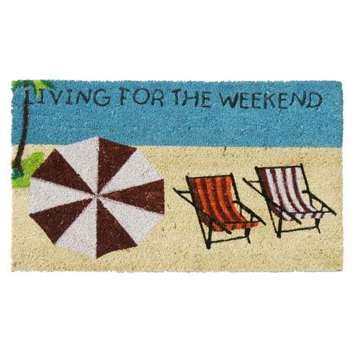 Multicolor Living for the Weekend Beach Door Mat