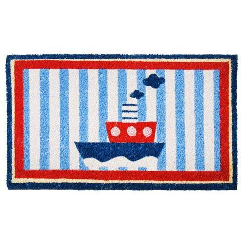 Blue and Red Welcome Aboard Mat Nautical Door Mat