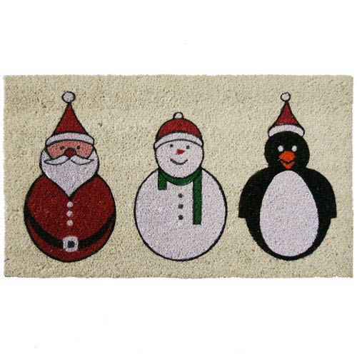 Multicolor Santa, Snowman and a Penguin Holiday Door Mat