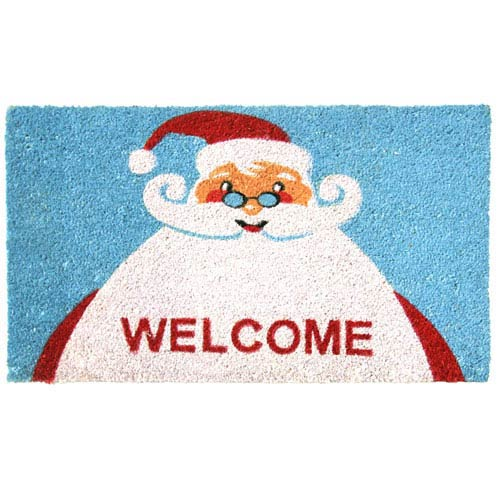 Blue Santa Claus is Back Christmas Door Mat