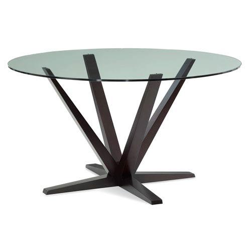 Saloom Furniture Aura Inch Chocolate Round Glass Top Dining Table - 54 inch glass top round dining table