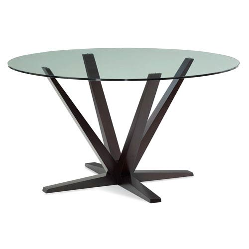 Saloom Furniture Aura 60 Inch Chocolate Round Glass Top Dining Table