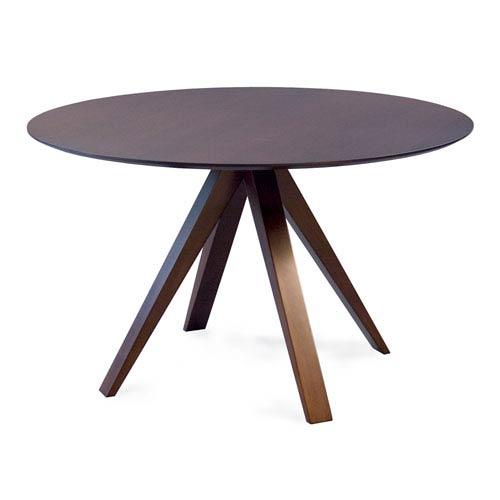 Nova - 48 Round Maple Dining Table - Strata Texture Top - Java Finish