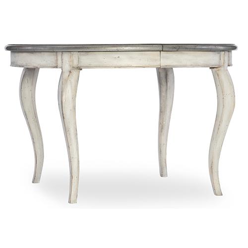 Arabella White 48-Inch Round Leg Table with 1-20-Inch Leaf