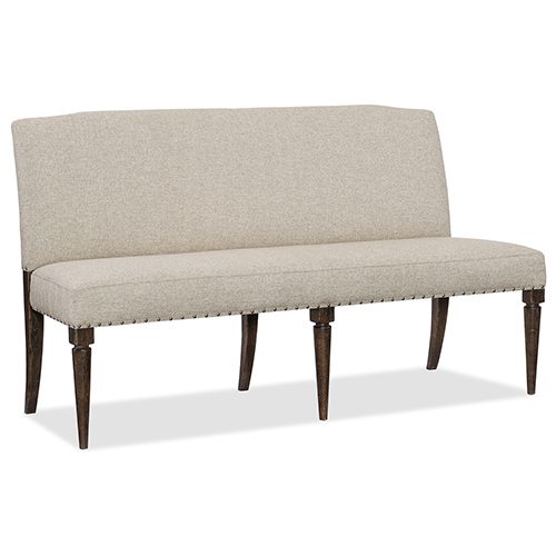 Roslyn County Dark Wood Upholstered Dining Bench