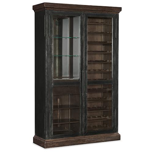 Roslyn County Dark Wood Wine Cabinet