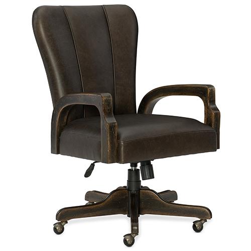 Crafted Dark Wood Desk Chair