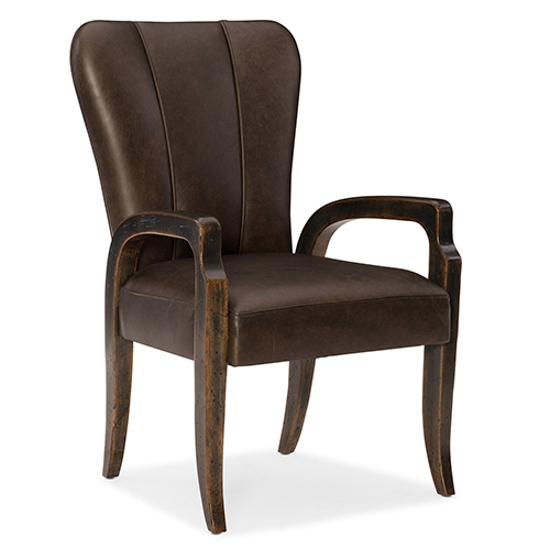 Crafted Dark Wood Leather Arm Chair