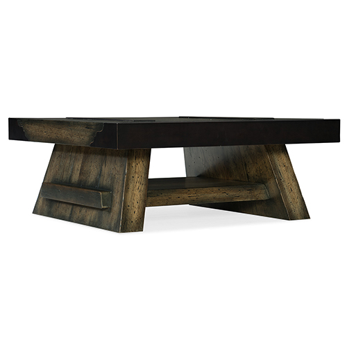 Crafted Dark Wood Cocktail Table