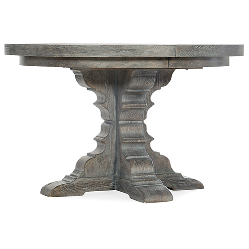 Beaumont Gray Round Dining Table with 48 In. Wood Top and Two 12 In. Leaves