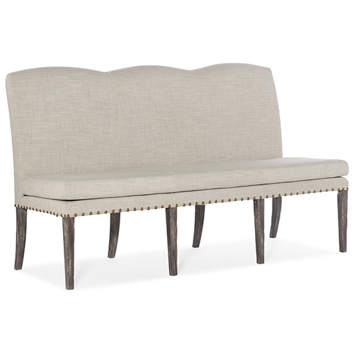 Beaumont Dark Wood and White Upholstered Dining Bench