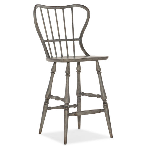 Ciao Bella Gray 49-Inch Spindle Back Bar Stool