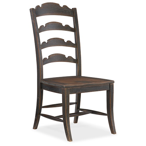 Hill Country Twin Sisters Black Ladderback Side Chair