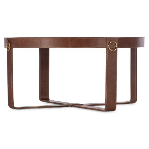 Melange Brown Leather Cocktail Table