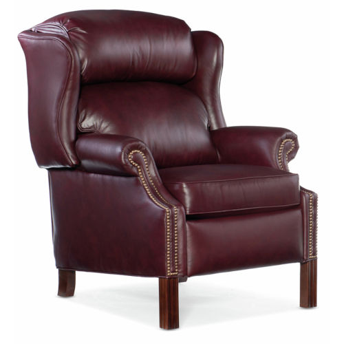Chippendale Burgundy 33-Inch Pushback High Leg Reclining Lounger