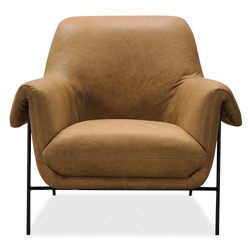 Brown Ambroise Metal Frame Club Chair