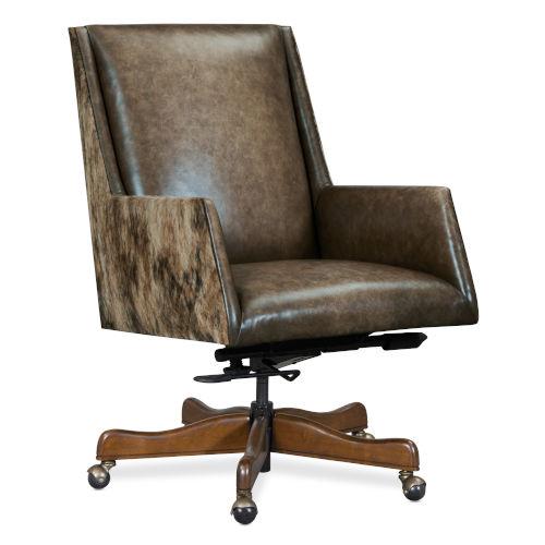 EC Dark Wood 38-Inch Swivel Tilt Chair