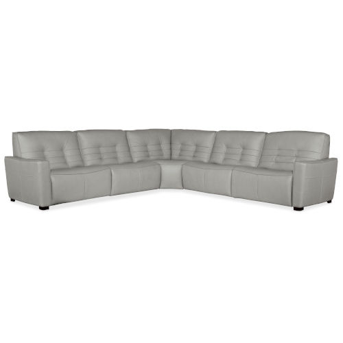 Reaux Gray Leather Five-Piece Power Recline Sectional with Three Power Recliner Sections