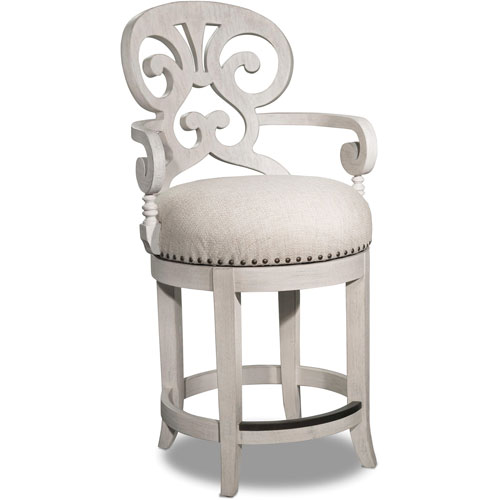 Mimosa White Fabric Counter Stool