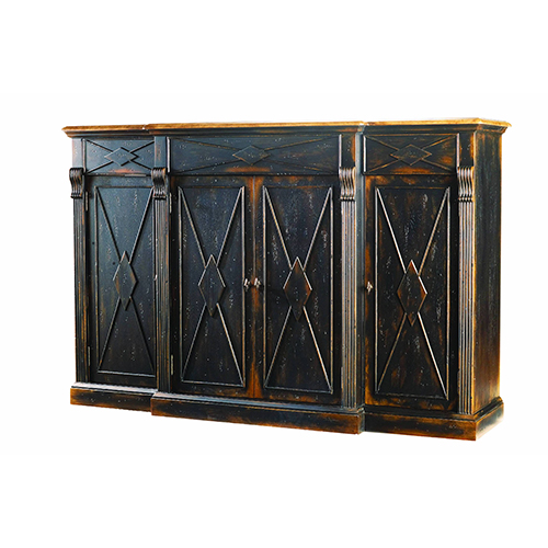 Sanctuary 4-Door 3-Drawer Credenza - Ebony and Drift