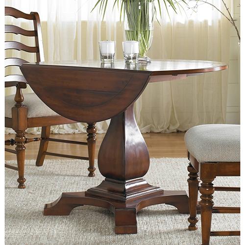 Furniture Waverly Place Round Drop Leaf Pedestal Table