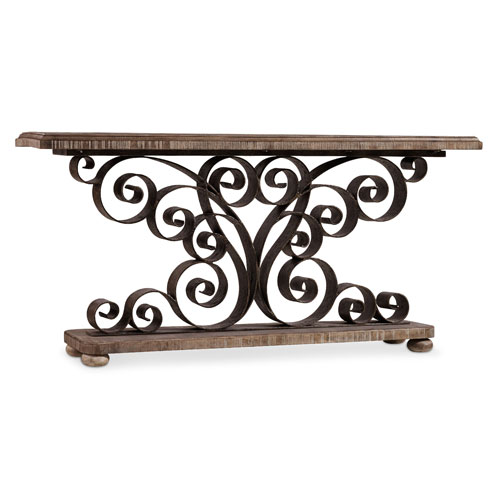 Hooker Furniture Metal Scroll Console