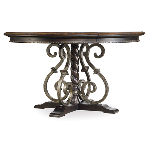 Treviso Round Dining Table with One 18-Inch Leaf