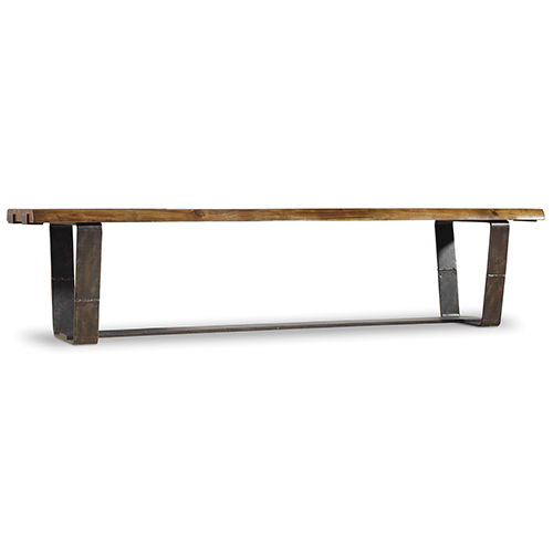 Hooker Furniture Live Acacia and Rustic Steel Edge Bench