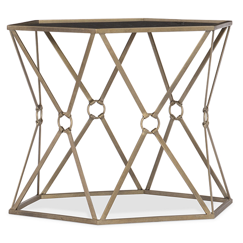 Hooker Furniture Black Metal and Glass Accent Bunching Tables
