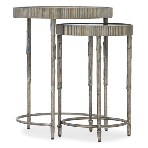 Furniture Silver Iron And Mirror Accent Nesting Tables