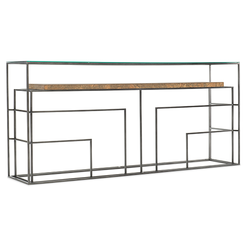 Hooker Furniture Brown Wood and Glass Sofa Table