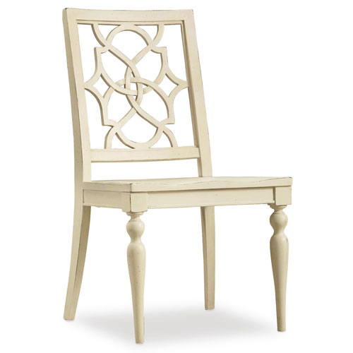 Hooker Furniture Sandcastle Fretback Side Chair - Wood Seat in Cream
