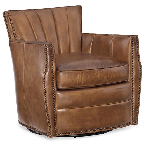 Carson Brown Pawn Leather Swivel Club Chair