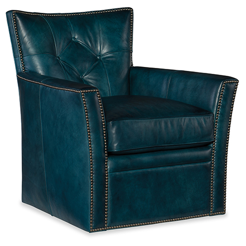 Hooker Furniture Conner Blue Leather Swivel Club Chair