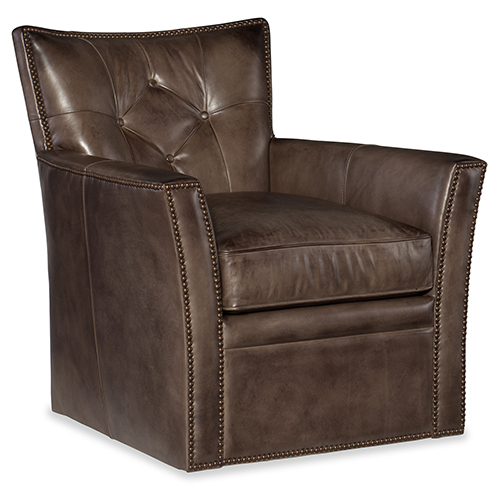 Hooker Furniture Conner Brown Leather Swivel Club Chair