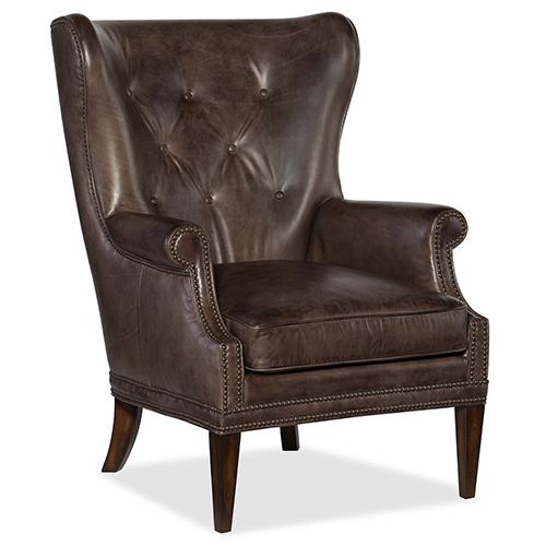 Hooker Furniture Maya Wing Brown Leather Club Chair